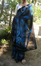 stunning blue peacock sari batik hand made in Sri Lanka