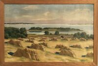 Josef P. Wide Landscape with Kornhocken - Oil Painting um 1920 -