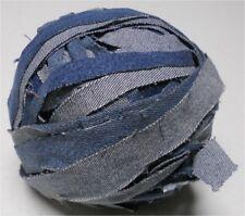 "Blue Denim Rug Strips-Mixed Blues, Sewn & Balled, 2 lb, Average 1.25"" Wide"