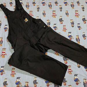 CARHARTT WIP Black Bib Overalls Pants 30x32 Work In Progress Denim Coveralls