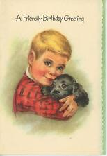 VINTAGE HANDSOME BOY CHILD RED SHIRT PORTRAIT BLACK COCKER SPANIEL DOG ART PRINT