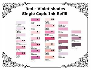Copic Various Refillable Inks -Red Violet Shades - For All Copic Markers