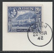 Aden 5286 - 1939 KG6 2.5a on piece with MADAME JOSEPH FORGED POSTMARK