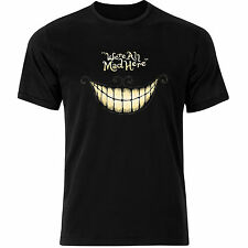 Cheshire Cat Alice In Wonderland We Are All Mad Here Mens Tshirt Tee Top AB36