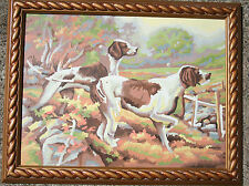 """Vintage Paint by Number Hunting Dogs Pointer Setter Framed  MCM PBN 18""""X15"""" VGVC"""