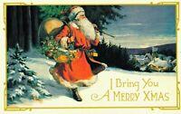I Bring You A Merry Christmas Santa Claus Postcard 04.39