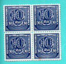 GERMANY LATVIA OCCUPATION 10 RM BLOCK OF 4 REVENUE STAMPS MNH 332