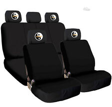 New Black Cloth Car Seat Covers Embroidery Tai Chi Headrest Cover for VW