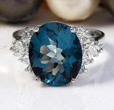 6.10 Carat Natural London Blue Topaz and Diamonds 14K White Gold Ring