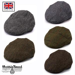 British Made Genuine 100% Wool Harris Tweed Flat Cap Scottish Bunnet Hat