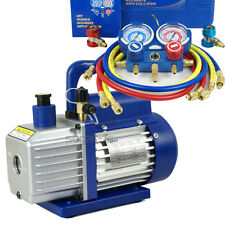 Used R134a R410a R22 Manifold Gauge Set & 3,5CFM Vacuum Pump 4ft HVAC Hoses