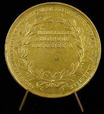 Médaille uniface en cuivre doré : prix agricole c1865 Medal