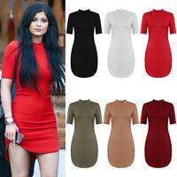 New Curved Hem High Neck Short Sleeve Stretch Bodycon Mini Celebrity Party Dress