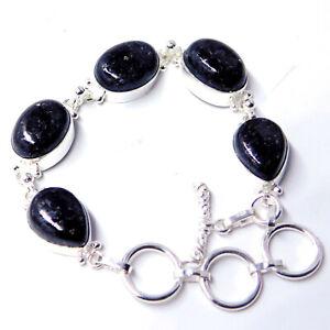 Nuummite 925 Sterling Silver Plated Handmade Jewelry Women Bracelet 21 Gm-X4