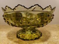 Vintage Fenton Green Glass Hobnail Centerpiece Candle Holder Flower Bowl