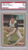 1962 Topps baseball card #67 Harvey Haddix, Pittsburgh Pirates PSA 7 NM