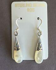 Mother of Pearl Inlay in Genuine .925 sterling silver Earrings Stamped