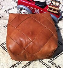 Moroccan Contemporary 100% Leather Hand Stitched Square Pouffe