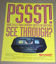 PSST SEE THROUGH ARTISTES - SHARP HIFI -1994 VINTAGE ORIGINAL ADVERT POSTER