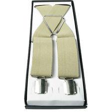 Mens Beige 40mm Elasticated Plain Braces Adjustable Suspender 4 Clip UK Seller