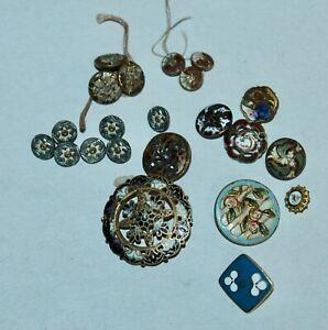ANTIQUE Metal Enamel Buttons ASSORTED Lot L