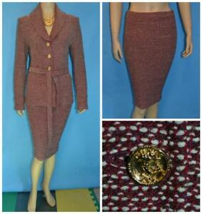 ST. JOHN Collection Red Cream Jacket & Skirt M 8 10 2pc Suit Gold Buttons Belt