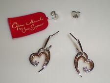 Jane Seymour 14K Two-Tone Gold 1/10ctw Open Hearts Diamond Earrings  RARE!  KAY