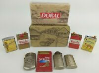 Vintage Lighter Lot of 7 - Camel Winston Chesterfield w/ Doral Matches in Tin