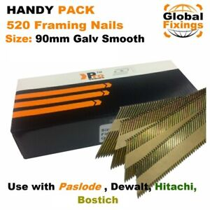Handy Pack 520 x 90mm Galvanised Smooth Framing Nails for DEWALT, Paslode IM350