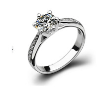 925 Sterling Silver Micro-inlay Cubic Zirconia Wedding Engagement Solitaire Ring
