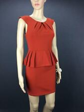 ** PARADISCO ** Size 8 Burnt Orange Red Womens Corporate Peplum Dress - (A209)