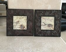 """NEW VIEW Tuscan 2pc 10""""x10"""" Metal WALL ART Brown PICTURE FRAME Unique BIRD Decor"""