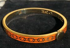 """HALCYON DAYS """"SKINNY CHAIN ORANGE AND GOLD"""" BANGLE WITH BLACK VELVET POUCH."""