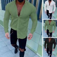 UK Men's Linen Long Sleeve Solid T Shirts Casual Loose Beach Soft Tops Tee Dress