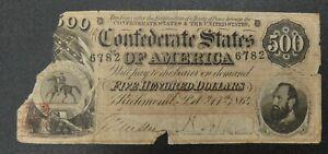 1864 $500 Confederate States of America T-64 VG/Fine Condition - bok
