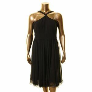 DRESS THE POPULATION Women's Dakota Crepe Chiffon Fit & Flare Dress TEDO