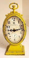 Rustic Oval Metal Pocket Watch Design Table Shelf Clock Art Home Decor
