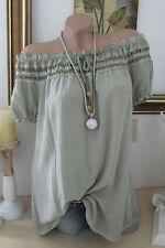 Italie été blouse tunique crochet kaki hippie grande chemise boho 36 38 40