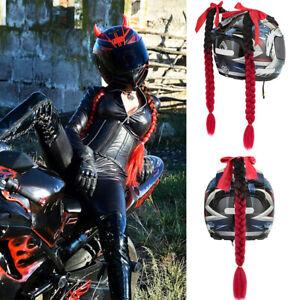 1Pcs Gradient RED Ramp Helmet Braid Ponytail Hair Pigtail For Motorcycle Bike
