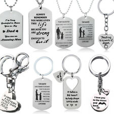 Gifts For Mom Dad Son Daughter Necklace Keyring Mother Father Presents Charm