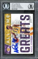 Lakers Magic Johnson Signed 2016 Panini Prestige All-Time Great #7 Card BAS Slab