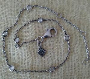 Silpada HTF A2081 Sterling Silver Chain Infinity CZ Anklet Bracelet Retired