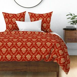 Holiday Christmas Brocade Festive Decor Red And Sateen Duvet Cover by Roostery