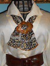 USA Scarf Slide VinTage Hammered Copper Brass Buckle BoHo & Leopard Silk Scarf