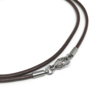 2mm Leather Necklace Cord Stainless Steel Lobster Clasp Mens Womens Brown Black