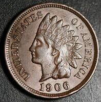 1906 INDIAN HEAD CENT -With LIBERTY & Near 4 DIAMONDS - AU UNC