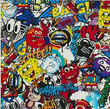 Wassertransferdruck Folie Stickerbomb Cartoon 2 - 100cm breit