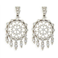 Auth Judith Ripka 925 Sterling Silver Large Round Diamonique Earrings » U323