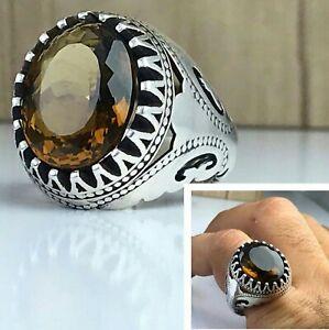 Solid 925 Sterling Silver Citrine Gemstone Signet Boys Mens Ring