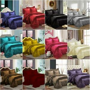 6PCS SATIN COMPLETE BEDDING SET DUVET COVER FITTED SHEET 4 PILLOW CASES